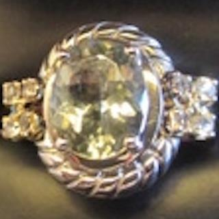 Genuine Green Amethyst & White Topaz 925 SS  Ring. Size 7