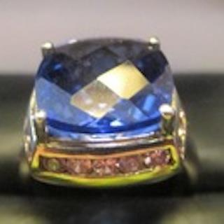Genuine Deep Blue Quartz & Pink Tourmaline 925 Sterling Silver Ring (Size 7)