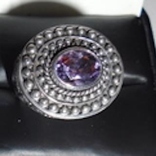Genuine Amethyst Designer Sterling Silver Ring by Aurora.