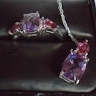 Genuine .925 SS Amethyst Pendant and Wire Choker. Hand Crafted Genuine Amethyst