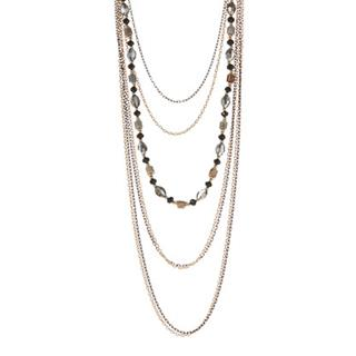 Goldtone Crystal Layered Necklace