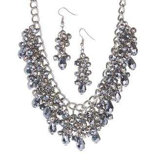 Gray Crystal Beaded Necklace & Earrings Set