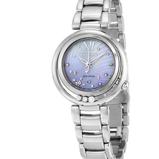 Women's Eco-Drive Sunrise Diamond Accent Stainless Steel Bracelet Watch #500-63