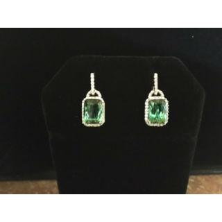 18K White Gold Emerald Cut Green Tourmaline 4.37Ctw & Diamond 0.42Ctw Earrings.