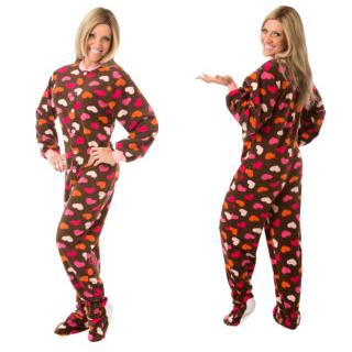 Adult Fleece Footed Pajamas - Chocolate with Hearts - (XS S M L XL)