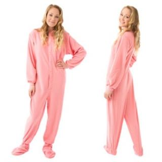 Pink Fleece Adult Onesie Footed Pajamas  (XS S M L XL)