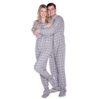 Grey & White Flannel Adult Footie Onesie - Plaid - (XS S M L XL)