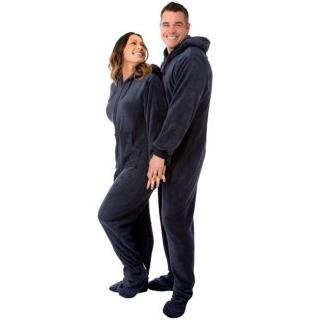 Navy Unisex Plush Adult Hoodie Footed Pajamas Sizes XS  S  M  L  XL