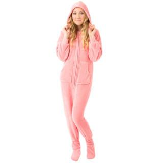 Plush Adult Hoodie Footed Pajamas - Pink - (XS S M L XL)