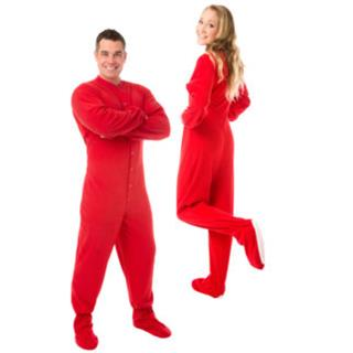 Adult Fleece Footed Pajamas for Him or Her - Red - (XS S M L XL)