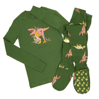 Kid's Dinosaurs Footed Pajamas  2 PC Set Sizes (3-4  5-6  7-8  9-10  11-12)