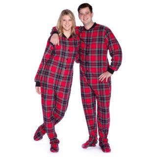 Flannel Adult Footed PJs in Red and Black Plaid Unisex Sizes ( XS S M L XL )