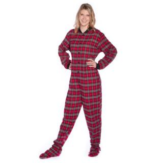 Red Plaid with Small Grey Hearts Flannel Adult Footie Onesie  (XS S M L XL)
