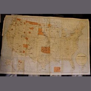 "1885 Historic and Authentic 22x34"" Map of Native American Indian Reservations"