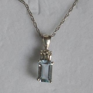 Genuine Aquamarine & Diamond SS set. Ring, Pendant & Chain! Ring is Size 7.