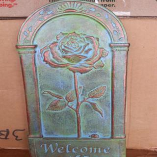 New Rose Welcome Sign in Bronzed Patina