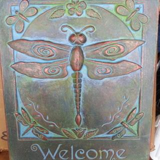 Dragonfly Welcome Sign in Bronzed Patina