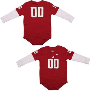 WSU Cougars Infant Football Jersey Long Sleeve Creeper  24 Months