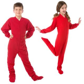 Red Fleece Onesie Pajamas for Toddlers and Youth  (12M - Youth Large 14/16)
