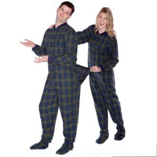 Navy & Green Plaid Flannel Adult Footie Onesie - Plaid - (XS S M L XL)