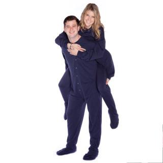 Navy Blue Jersey Knit  Adult Footed Pajamas ( Unisex Sizes  XS S M L XL )