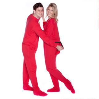 Red Jersey Knit  Adult Footed Pajamas ( Unisex Sizes  XS S M L XL )