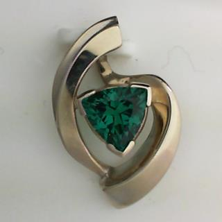 14K White Gold Created Emerald Slide Pendant