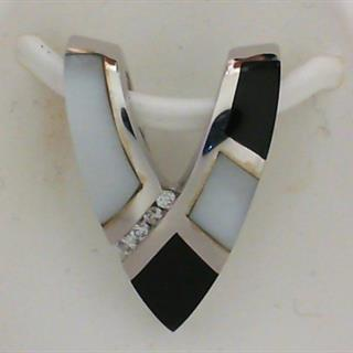 14K White Gold Diamond, Onyx & Mother of Pearl Pendant