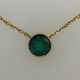 14K Yellow gold Chatham Created Emerald Pendant & Chain