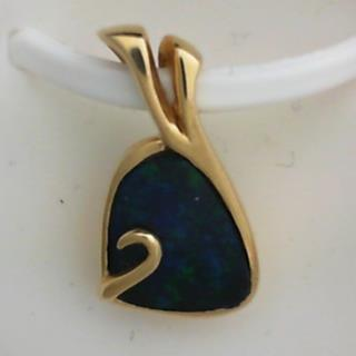 14K Yellow Gold Dark Opal Pendant