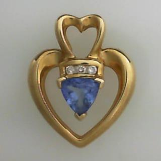 14K Yello Gold Tanzanite & Diamond Heart Pendant