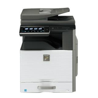 Sharp MX-3640n w/ 1 drawer cabinet, center exit tray