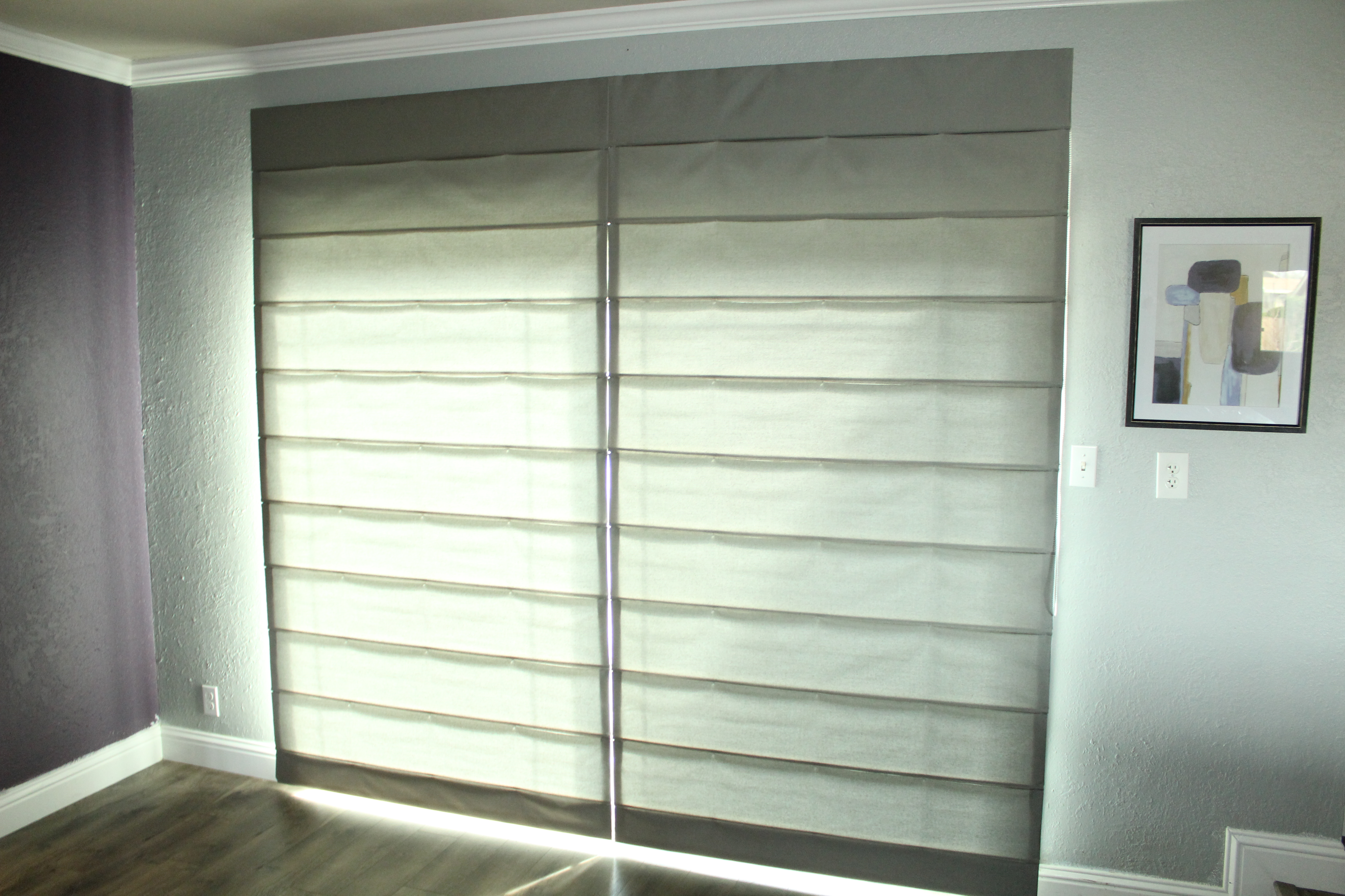 Sliding Door Roman Shades