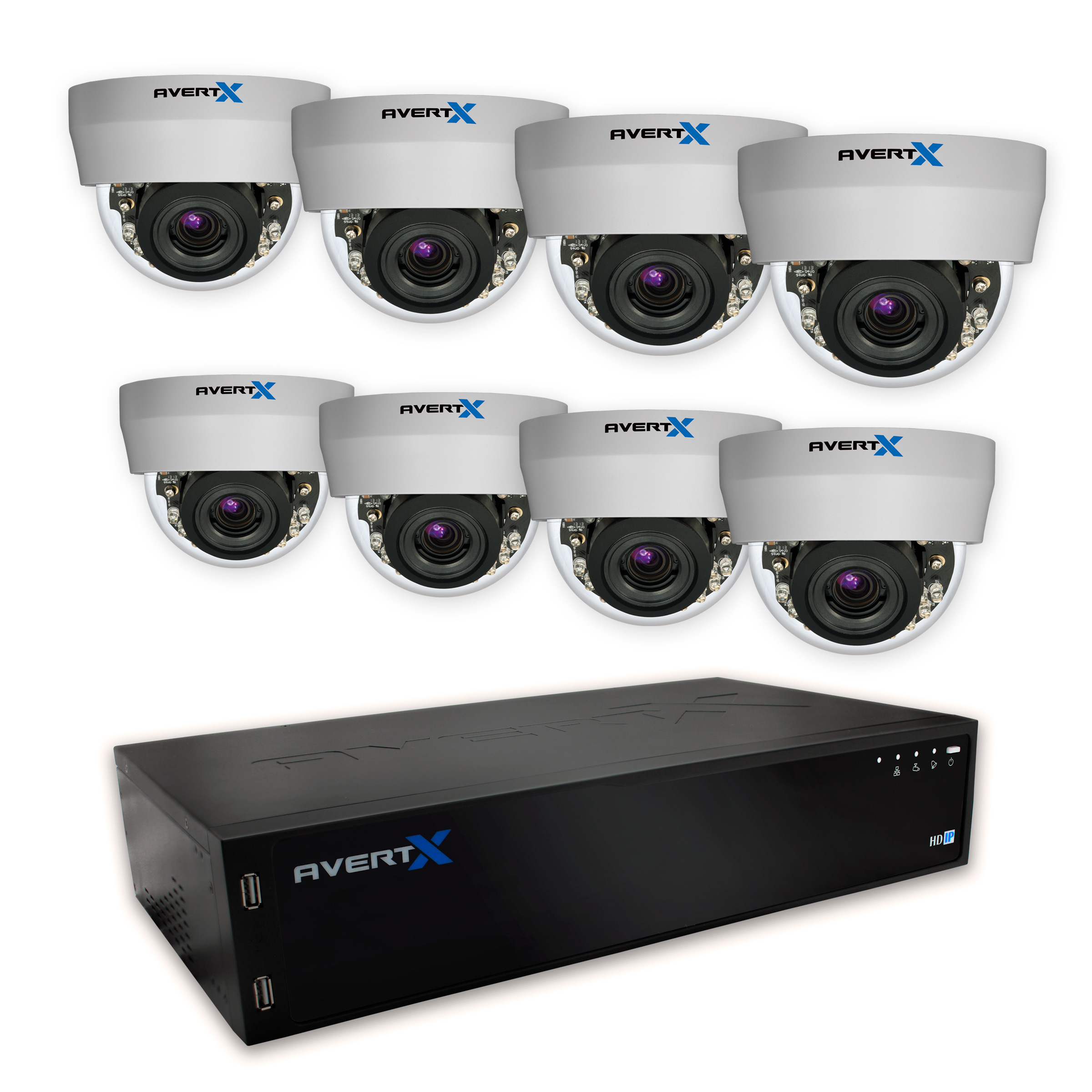 AvertX 16 Channel NVR with 8 HD810 Dome Cameras (Refurbished)