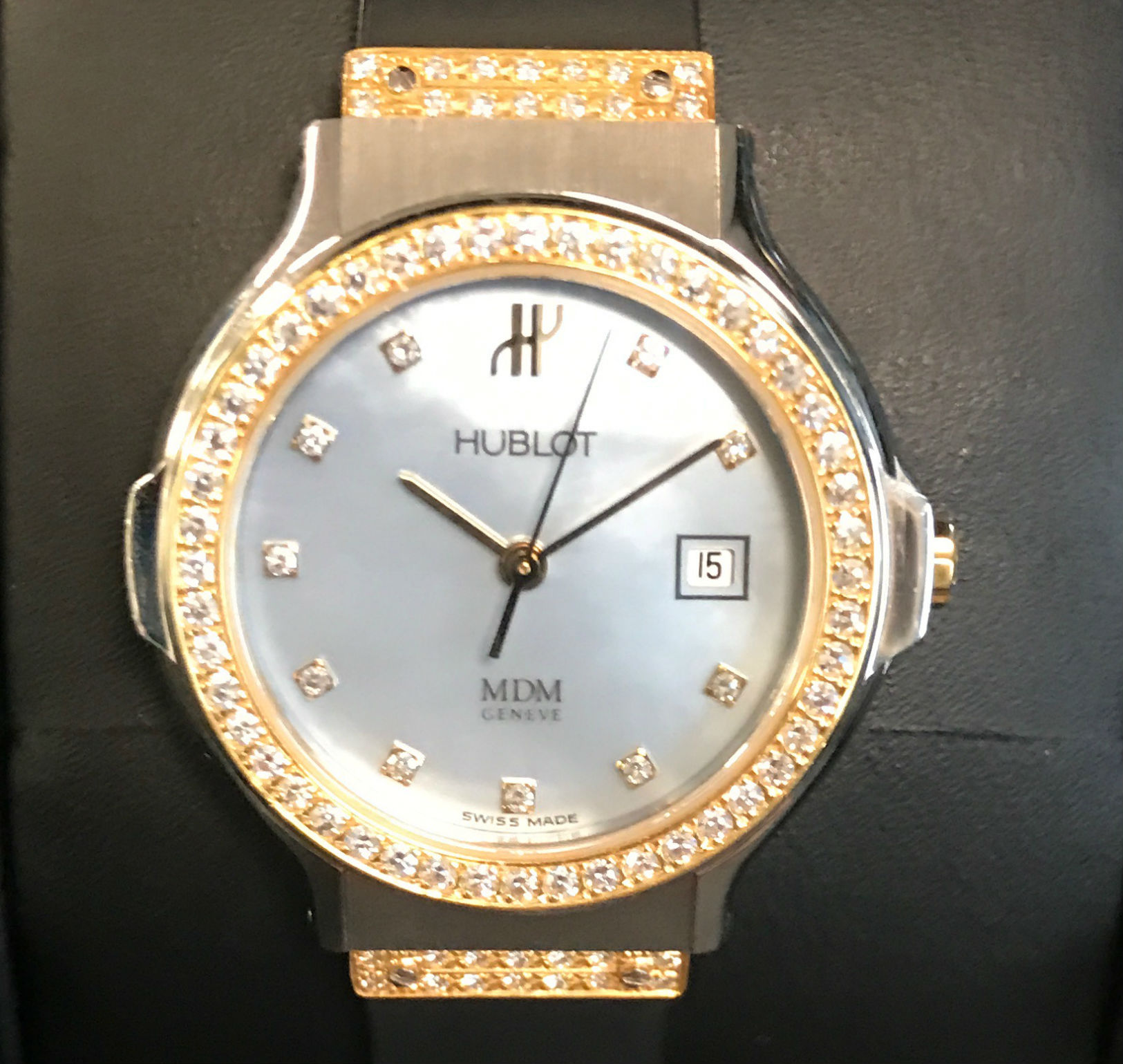 Hublot Classic Ladies 26MM Yellow Gold Pearl Dial Rubber Watch