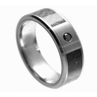 Tungsten Black Diamond Ring - Size 9