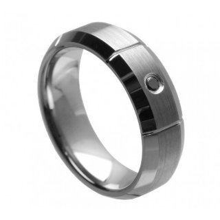 Tungsten Black Diamond Ring - Size 8