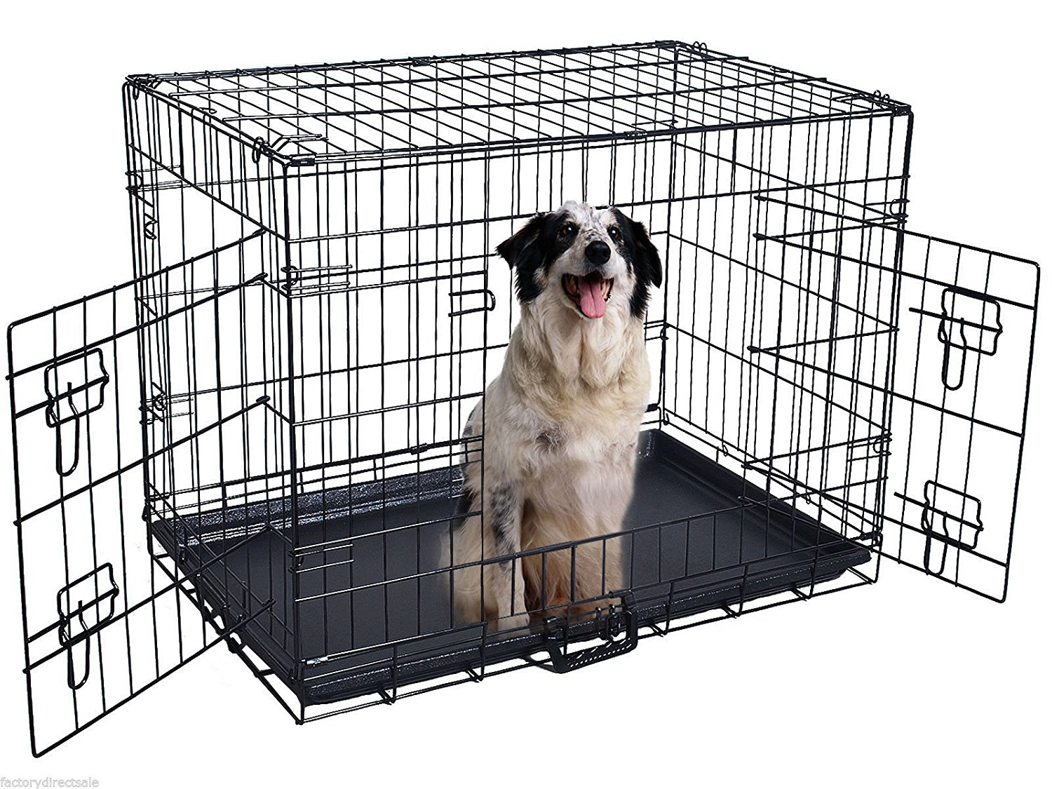 24 Inch 2 Doors Folding Suitcase Dog Cat Crate Cage Kennel With ABS Tray
