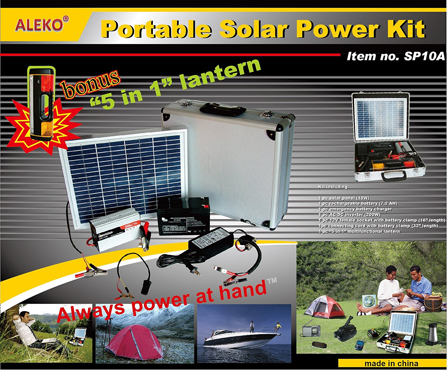 Portable Solar Power Charging Kit with 10W Panel and Battery