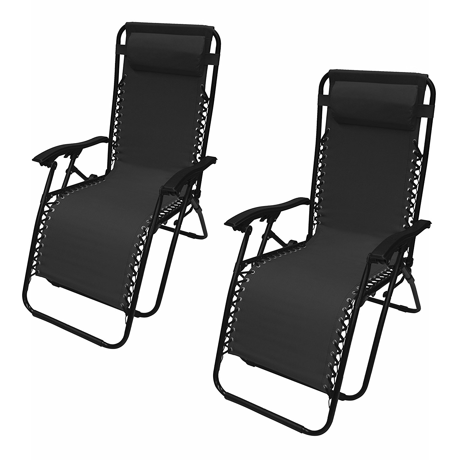 Outdoor Patio Foldable Chaise-Longue Leisure Chair, Black Color, Lot of 2