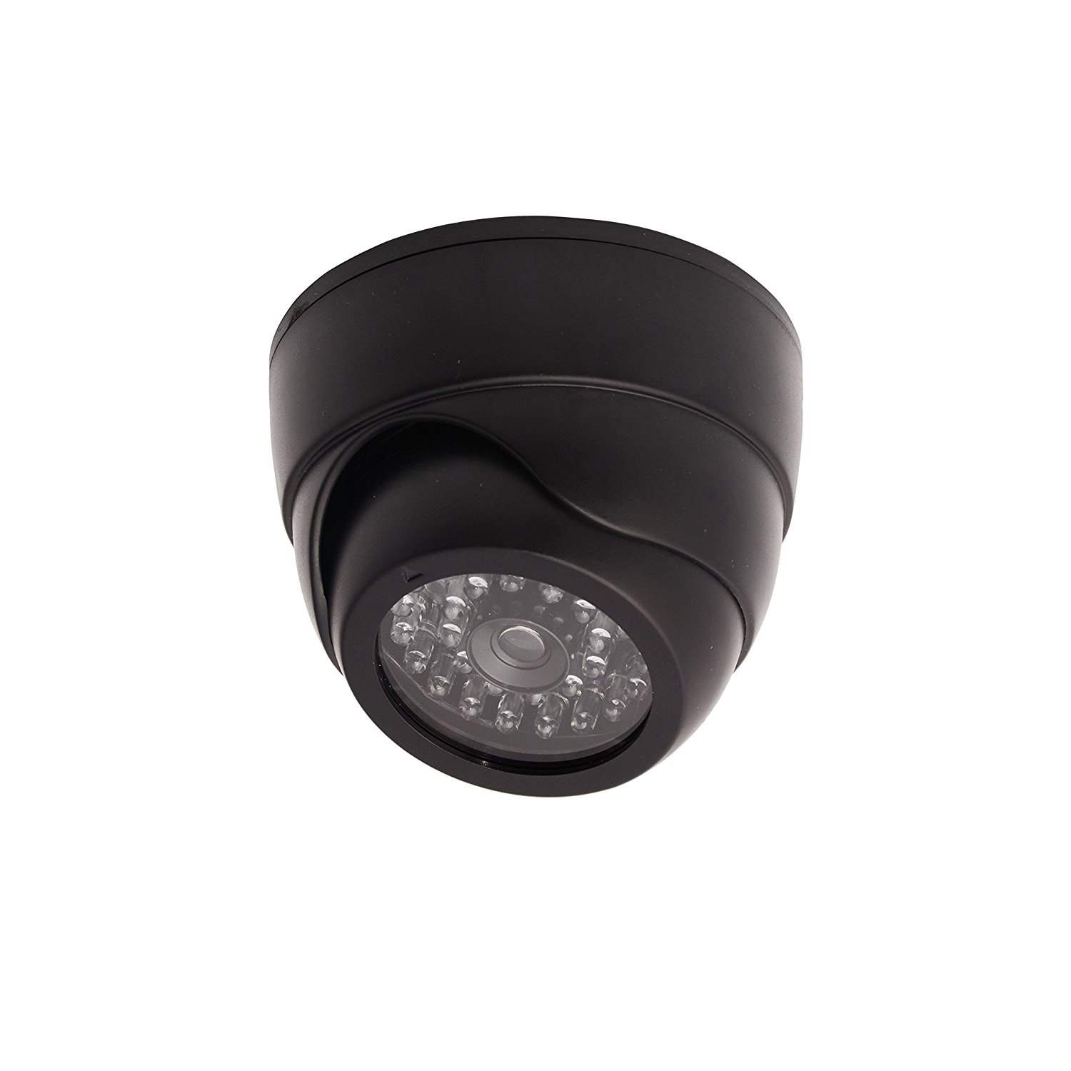 Dummy Replica Criminal Surveillance Imitation Dome Camera With LED, Black