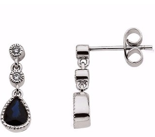 14K White Blue Sapphire & .05 CTW Diamond Earrings