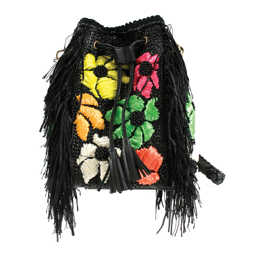 Mary Frances 'Vibe Black' Drawstring Handbag