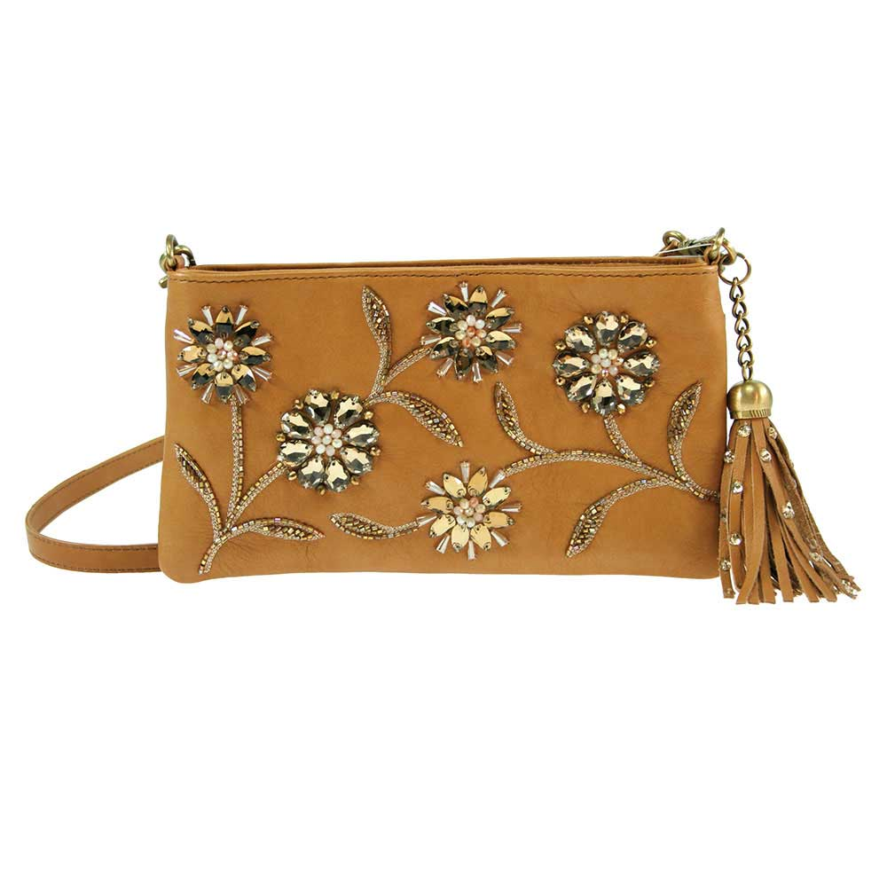 Mary Frances 'Sweet Caramel' Leather Cross-Body Handbag