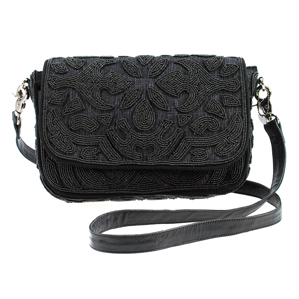 Mary Frances 'Fiji Black' Beaded Cross-Body Handbag