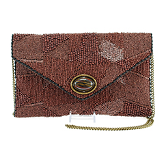 Mary Frances 'Rustic' Beaded Envelope Clutch with Natural Stone