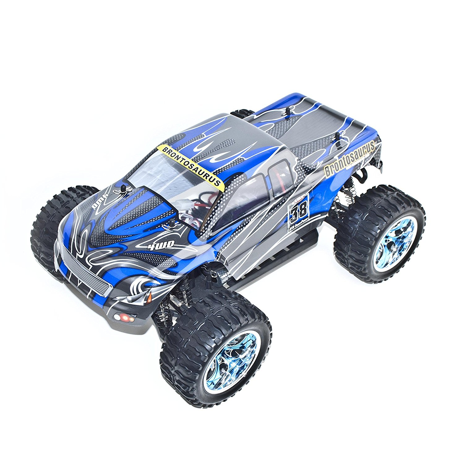 4WD 2 Ch Electric Powered High Speed Off Road Monster Truck, Blue 1/10 Scale