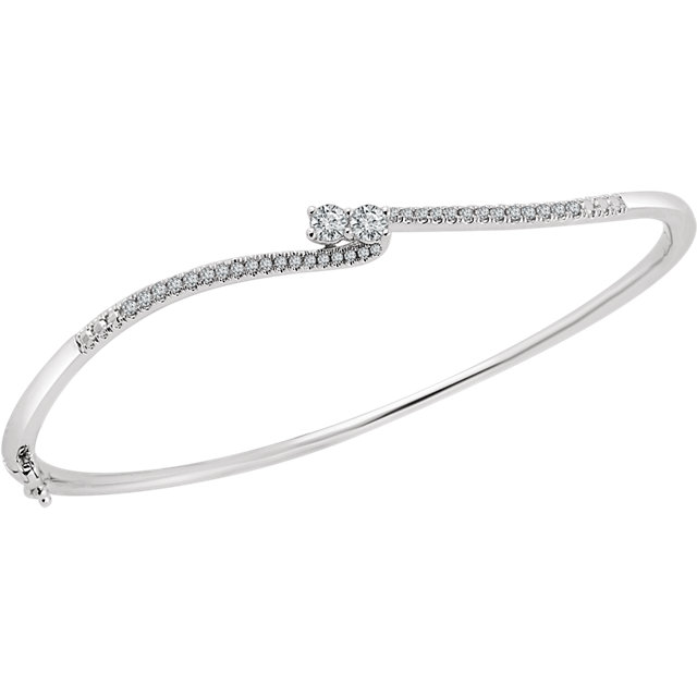 "14K White 1/3 CTW Diamond Two-Stone Accented Bangle 7"" Bracelet"