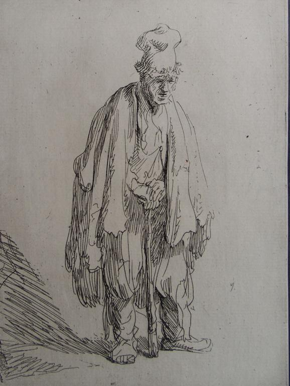 Beggar in a high cap, 18th Century Etching, Rembrandt van Rijn