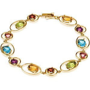 14K Yellow Genuine Citrine, Amethyst, Swiss Blue Topaz, Pink Tourmaline Bracelet